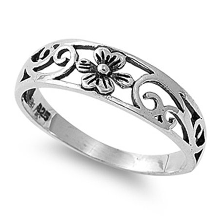 Sterling Silver Plumeria Ring Gorgeous Flower Design Band Solid 925 Size 4 ()