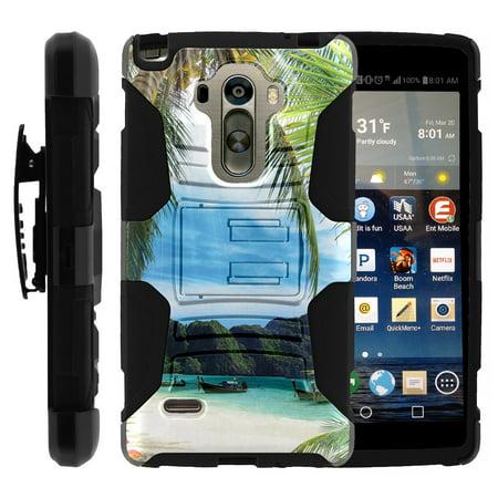 TurtleArmor ®  For LG G Stylo LS770, H631, MS631  LG G4 Stylus  LG Stylus [Hyper Shock] Hybrid Dual Layer Armor Holster Belt Clip Case Kickstand - Tropical Beach