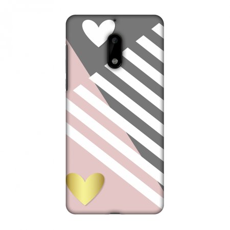 Nokia 6 Case, Premium Handcrafted Printed Designer Hard ShockProof Case Back Cover with Screen Cleaning Kit for Nokia 6 - Geometric Shapes & Hearts ()