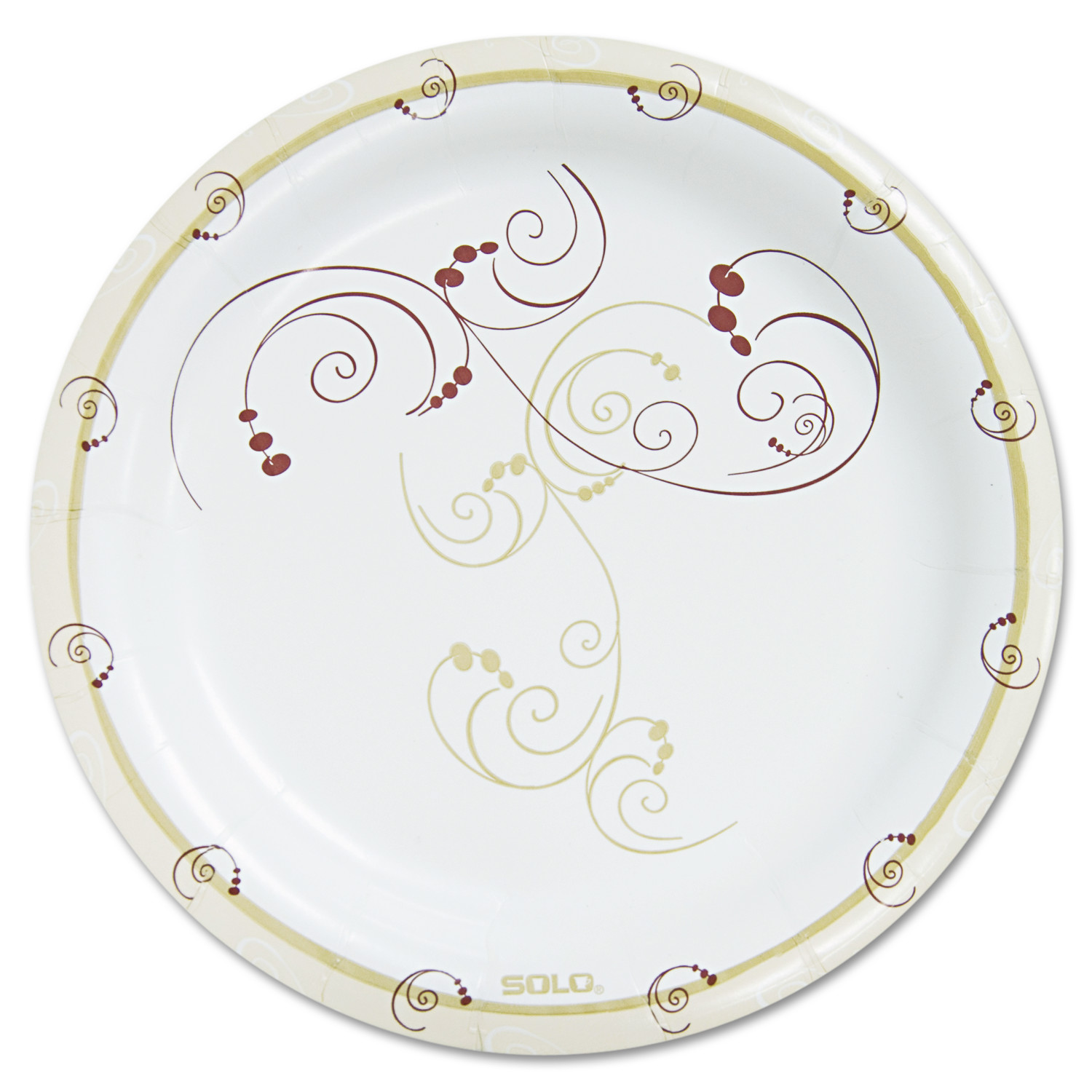 """SOLO Cup Company Symphony Paper Dinnerware, Heavyweight Plate, 9"""", Tan, 125/Pack"""
