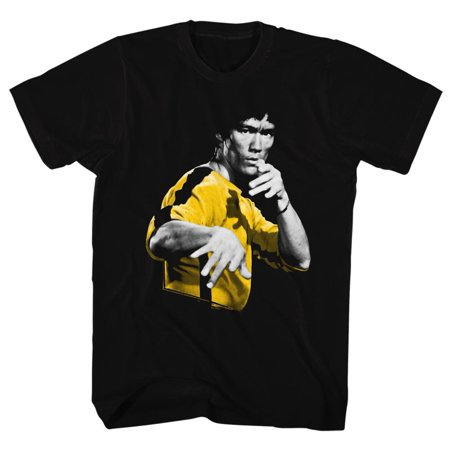 Bruce Lee Chinese Martial Arts Icon Yellow Striped Adult T-Shirt Tee - image 1 of 1