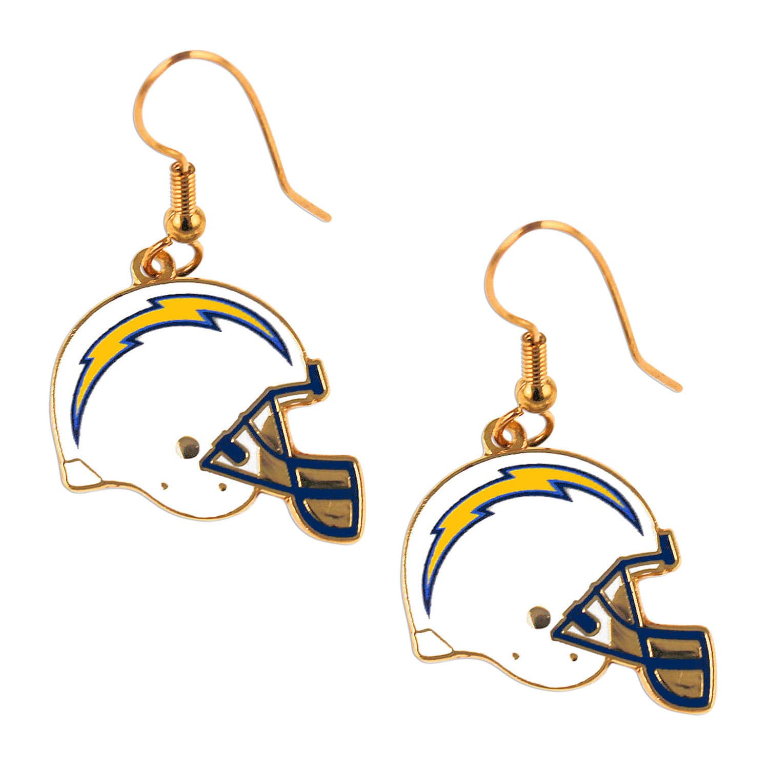 Aminco San Diego Chargers NFL Helmet Shaped J-Hook Gold Tone Earring Set Charm Gift
