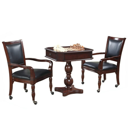 Pedestal Chess Table (Fortress Chess, Checkers & Backgammon Pedestal Game Table & Chairs Set - Mahogany )