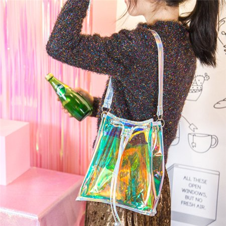 Metallic Satchel Handbag - Transparent Bag Laser Cute Hologram Holographic Metallic Bag Shopping Travel Handbag Satchel