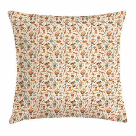 Sweet Crab (Pirates Throw Pillow Cushion Cover, Pirates Flowers Ship Whale Crab and Octopus Sweet Characters Cartoon Style, Decorative Square Accent Pillow Case, 18 X 18 Inches, Orange Brown Green, by)