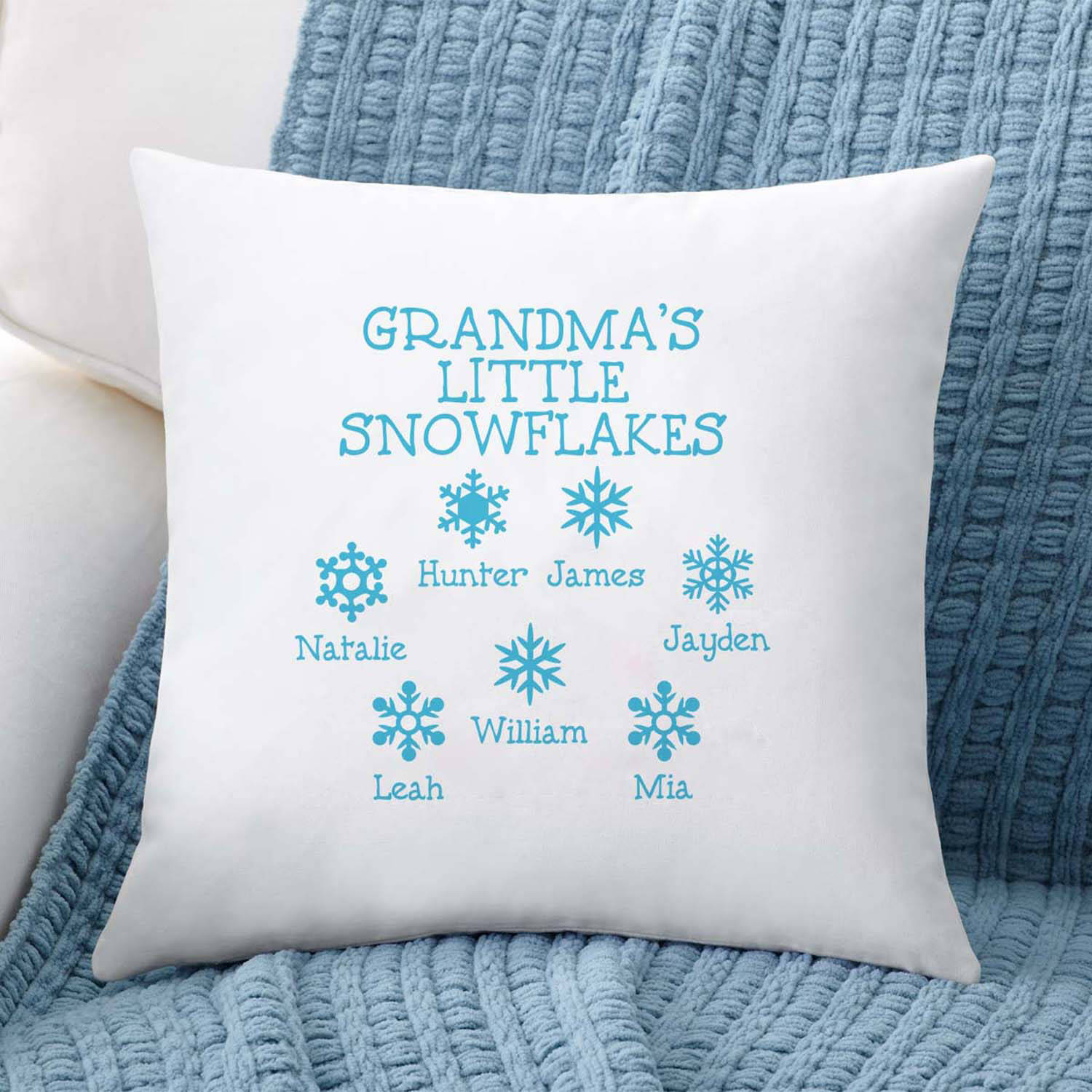 Personalized Little Snowflakes Throw Pillow