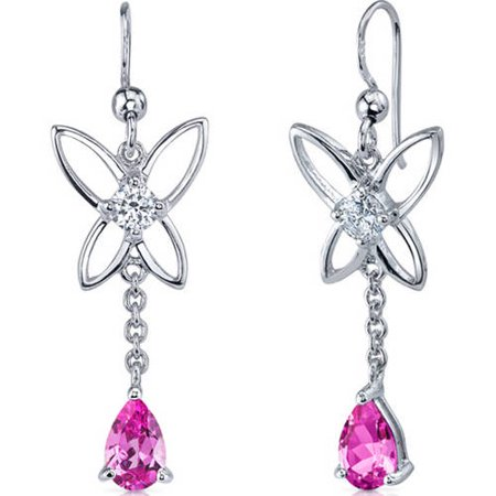 Pear Shape Sapphire Earrings (2.00 Carat T.G.W. Pear-Shape Pink Sapphire Rhodium over Sterling Silver Drop)