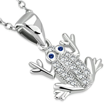 Sterling Silver Frog Pendant - 925 Sterling Silver White Clear Blue CZ Frog Pendant Necklace