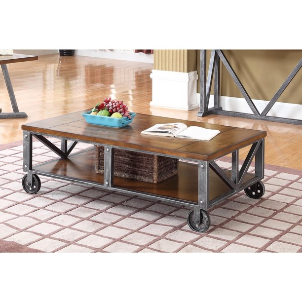Best Master Furniture Durham Walnut With Brushed Gray Iron Living Room Tables, Coffee Table