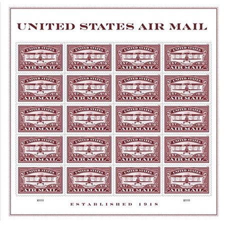 Red United States Airmail Sheet of 20 Forever USPS First Class one Ounce Postage Stamps (20 Stamps) Wedding Celebration