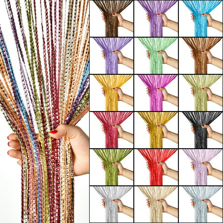Glitter String Door Curtains, Striped Tassel Curtain Window Fringe Panel Room Dividers Doorway Fly Screen Wedding Home Decoration, 19 Colors, 100 x 200cm