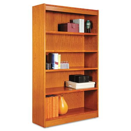 Alera Square Corner Wood Bookcase, Five-Shelf, 35-5/8w x 11-3/4d x 60h, Medium Cherry