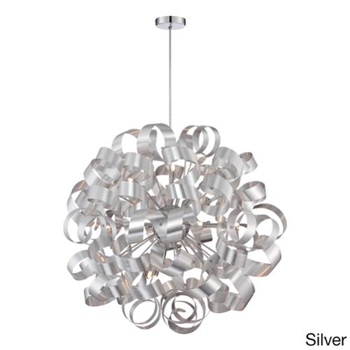 Quoizel 12-light Ribbon Curled Steel Large Pendant Xenon, Silver, Pendant by Overstock