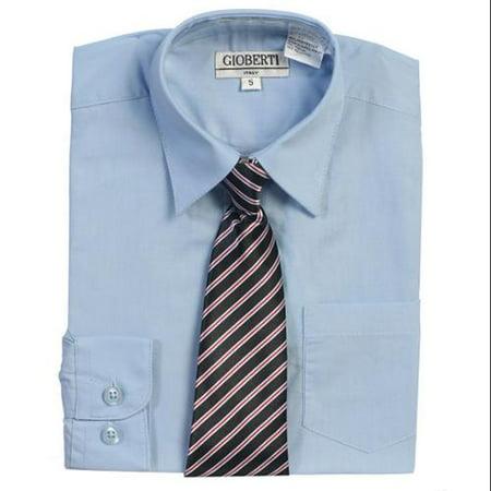 Light Blue Button Up Dress Shirt Striped Tie Set Boys 5-18 - Dream Date Dress Up Boy Style