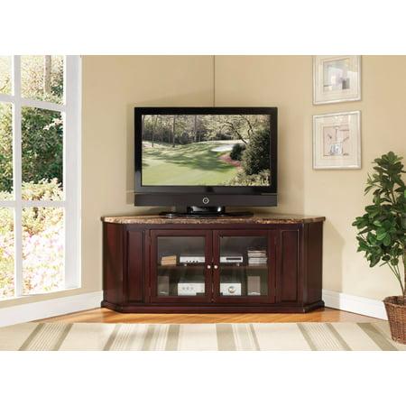 Corner TV Stand, Faux Marble & Espresso Brown 3 Piece Maple Entertainment Center