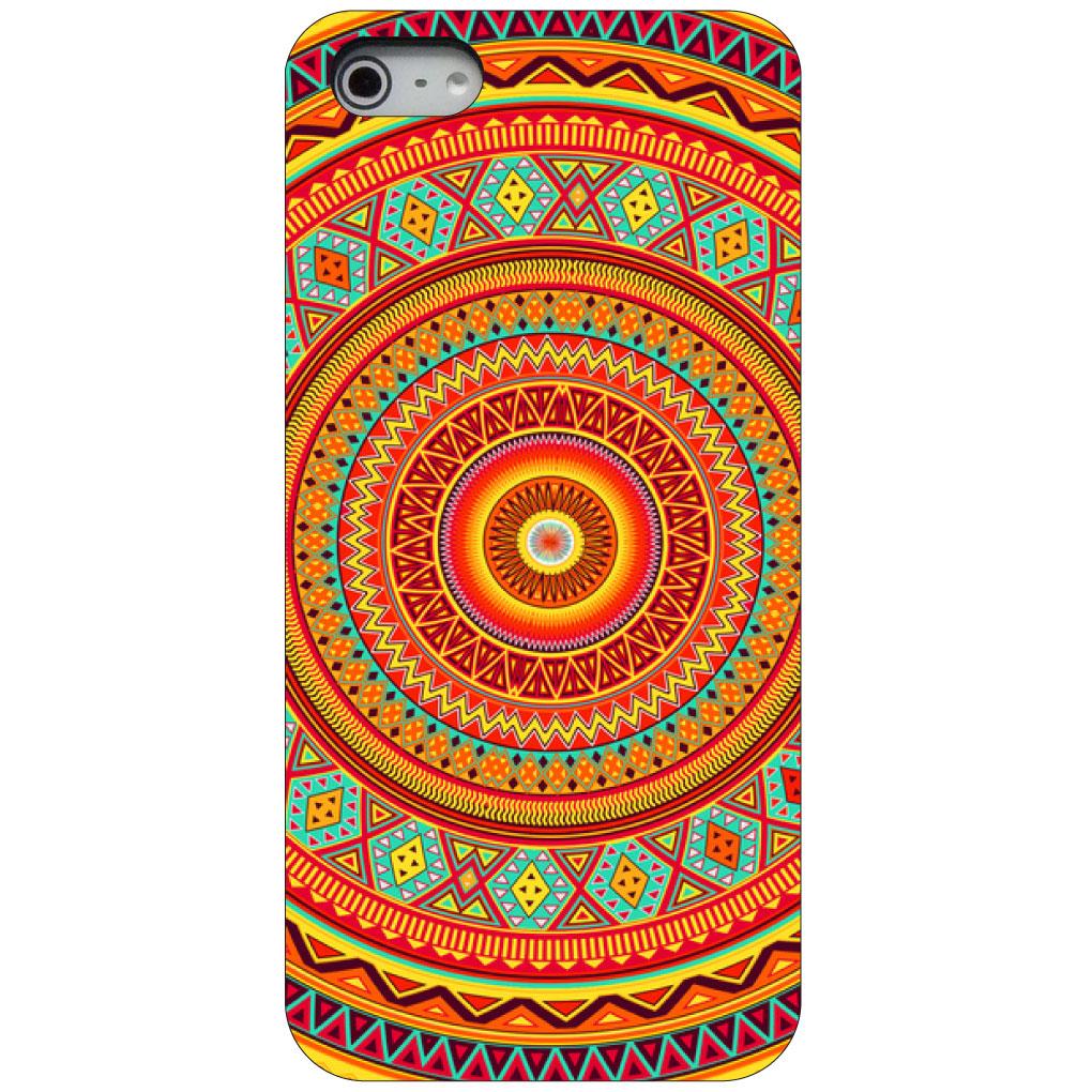 CUSTOM Black Hard Plastic Snap-On Case for Apple iPhone 5 / 5S / SE - Orange Teal Yellow Tribal Print