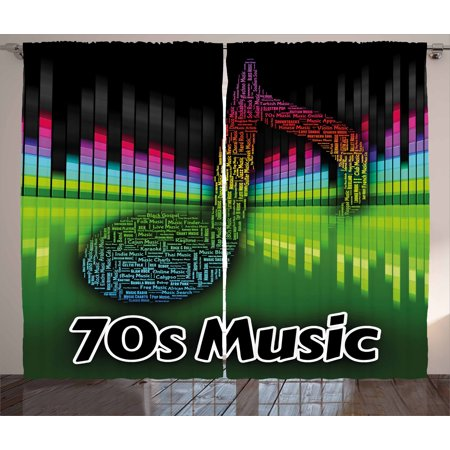 70s Party Decorations Curtains 2 Panels Set, Acoustic Audio Vivid Colored Musical Note Harmony Melody Soundtrack, Window Drapes for Living Room Bedroom, 108W X 84L Inches, Multicolor, by Ambesonne