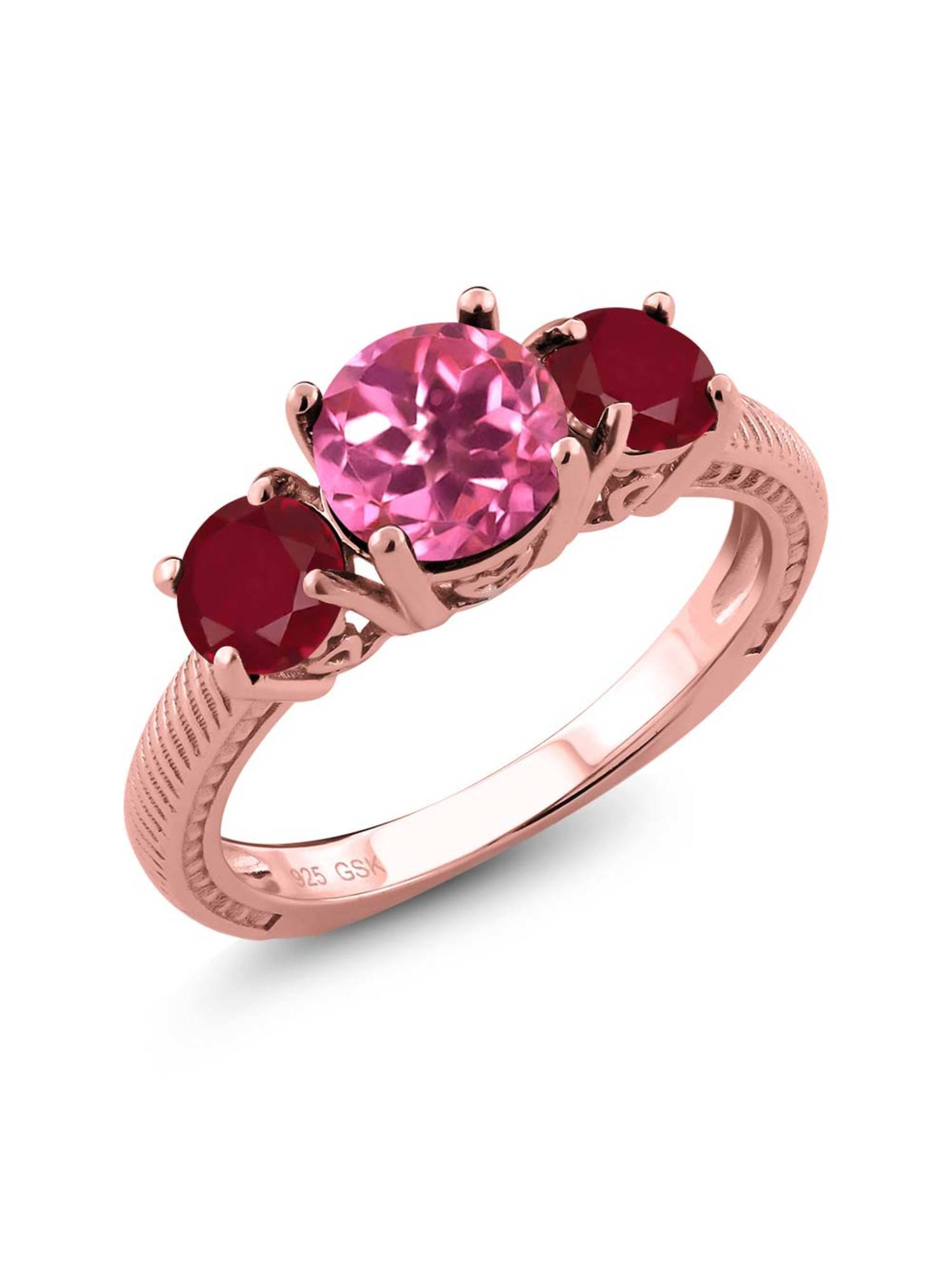 2.40 Ct Round Pink Mystic Topaz Red Ruby 18K Rose Gold Plated Silver 3 Stone Ring by