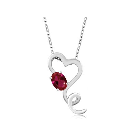 0.60 Ct Simulated Emerald, Ruby or Sapphire 925 Sterling Silver Heart Pendant 18