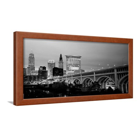 Bridge in a City Lit Up at Dusk, Detroit Avenue Bridge, Cleveland, Ohio, USA Black and White Photo Framed Print Wall Art By Panoramic Images](Party City In Ohio)