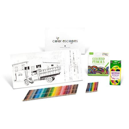Crayola Color Escapes Coloring Pages & Pencil Kit, Americana Edition, 12 Premium Pages, 12 Watercolor Pencils, 50 Colored Pencils, Adult Coloring, Art Activity