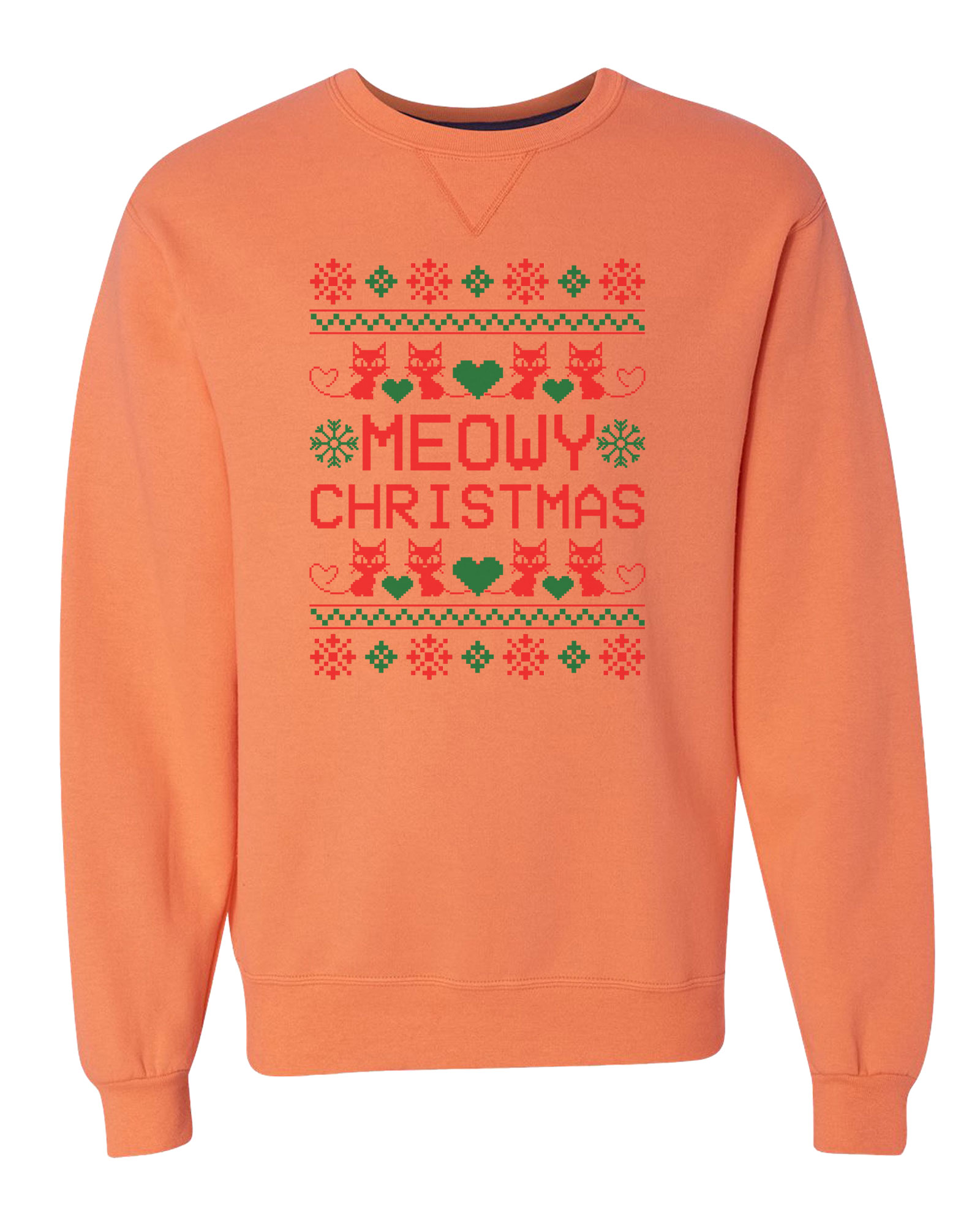 "Unisex Soft Sweatshirt ""Meowy Christmas"" Extra Soft Sweater - Cat Sweatshirt Large, Green"