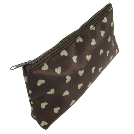 Unique Bargains Beige Heart Dotted Zippered Nylon Lining Cosmetic Makeup Bags for - Zippered Womens Liner