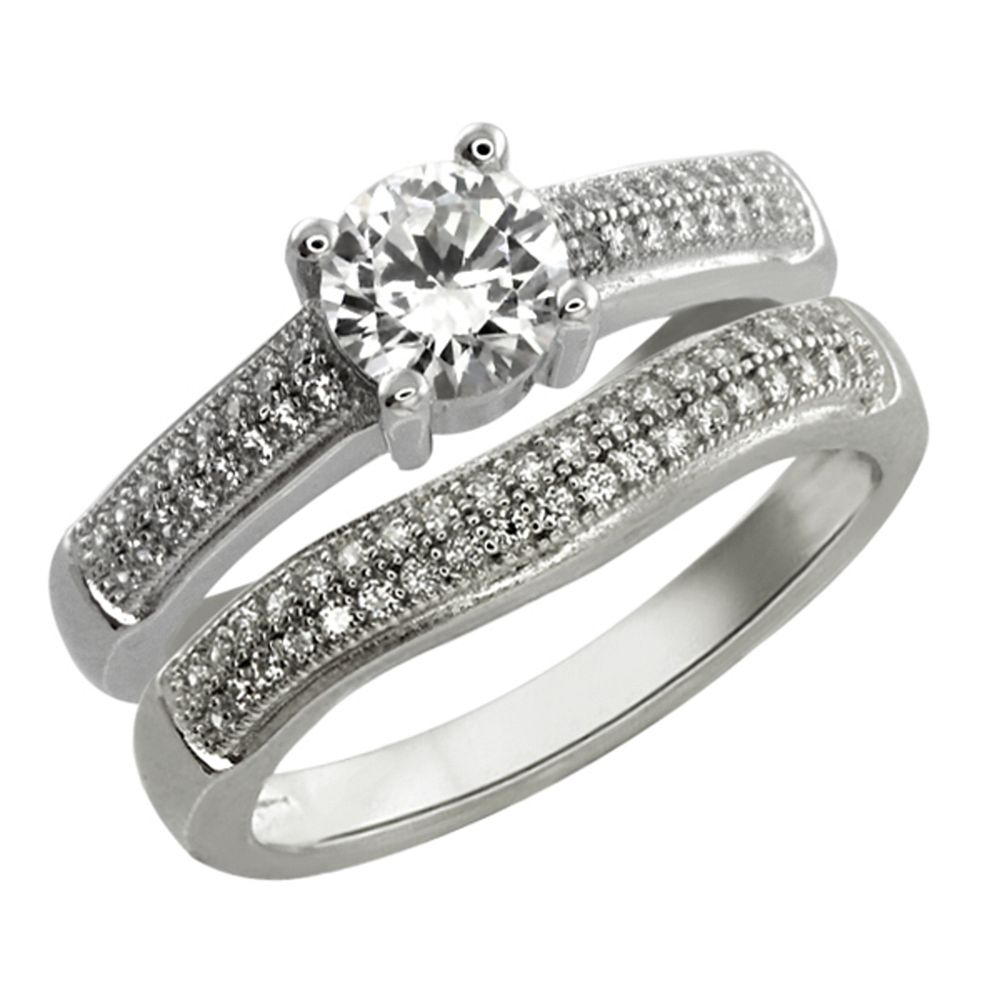2.00 Ct Sterling Silver Round Brilliant White Cubic Zirconia CZ Engagement Set