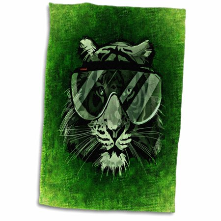 3dRose Hipster Tiger with Glasses in Green Background - Towel, 15 by (Green Hipster Glasses)