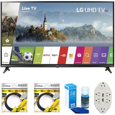 Lg 49   Super Uhd 4K Hdr Smart Led Tv 2017 Model  49Uj6300  With 2X 6Ft High Speed Hdmi Cable  Universal Screen Cleaner For Led Tvs   Transformer Tap Usb W  6 Outlet Wall Adapter And 2 Ports