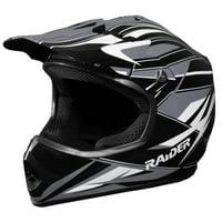 Raider GX Motocross Youth Helmet - Black/Silver - YL