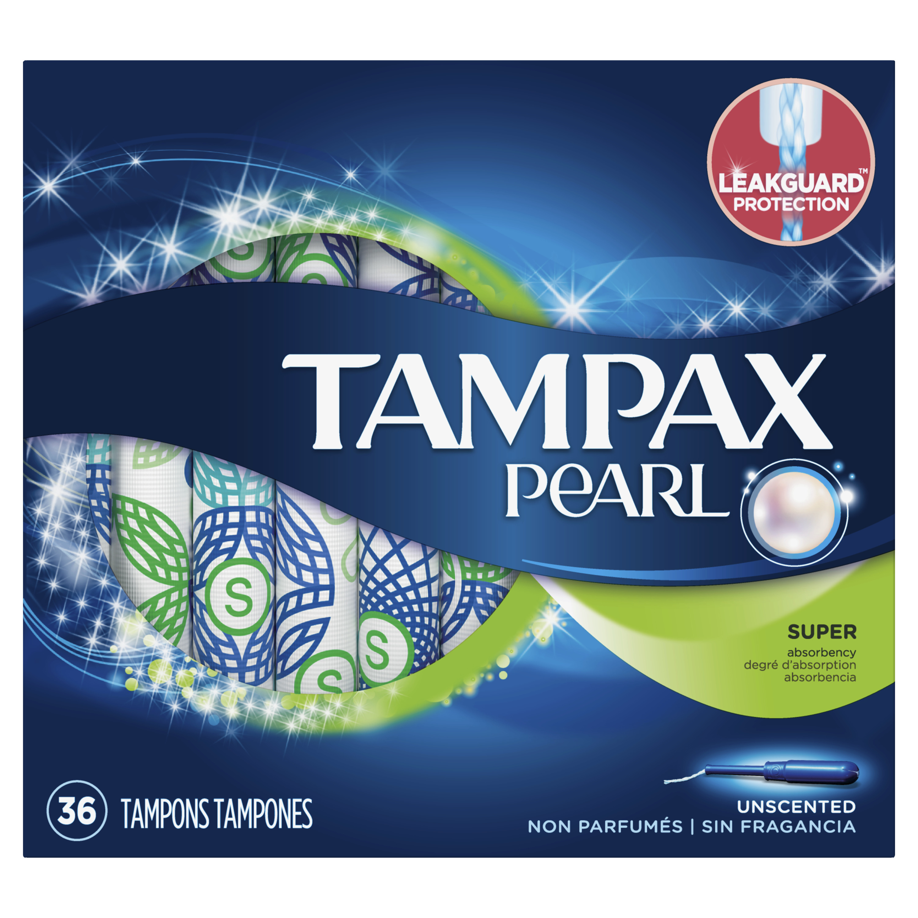 Tampax Pearl Super Plastic Tampons, Unscented, 36 Count