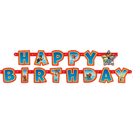 PAW Patrol Birthday Banner, 6.25 ft, - 100th Birthday Banners