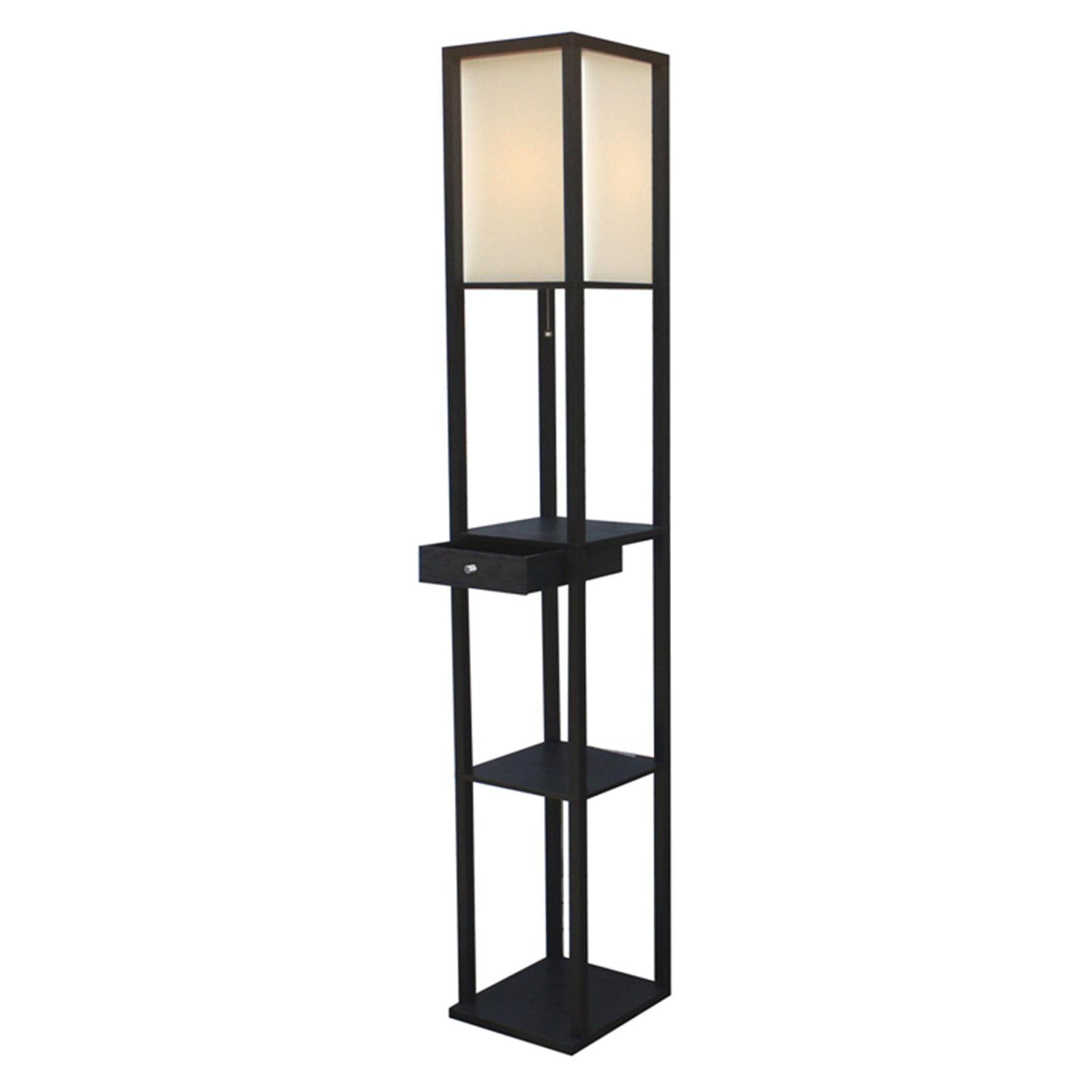 Adesso Parker 3133 Shelf Lamp With Drawer Black Walmart Com