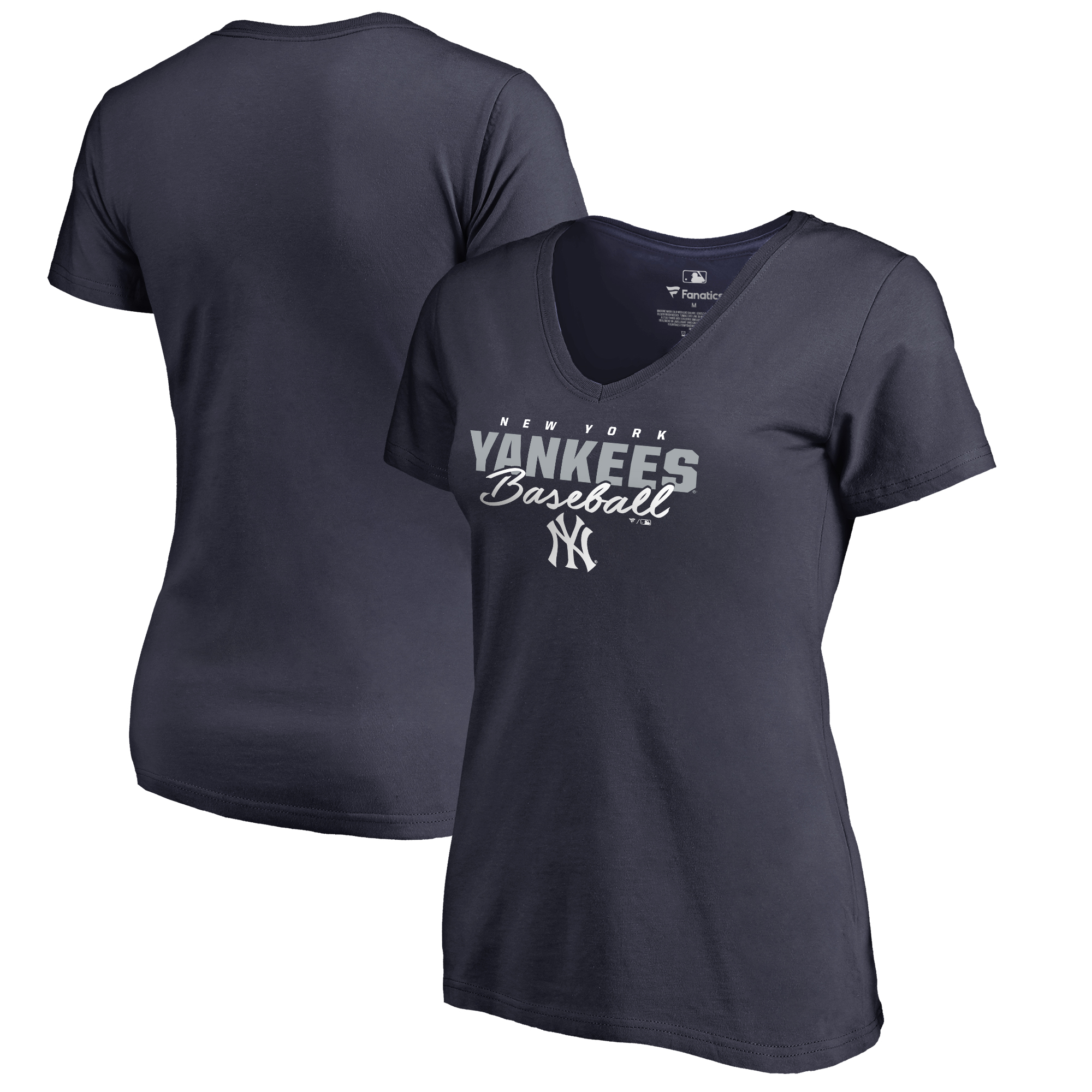 New York Yankees Fanatics Branded Women's Script Assist Plus Size V-Neck T-Shirt - Navy