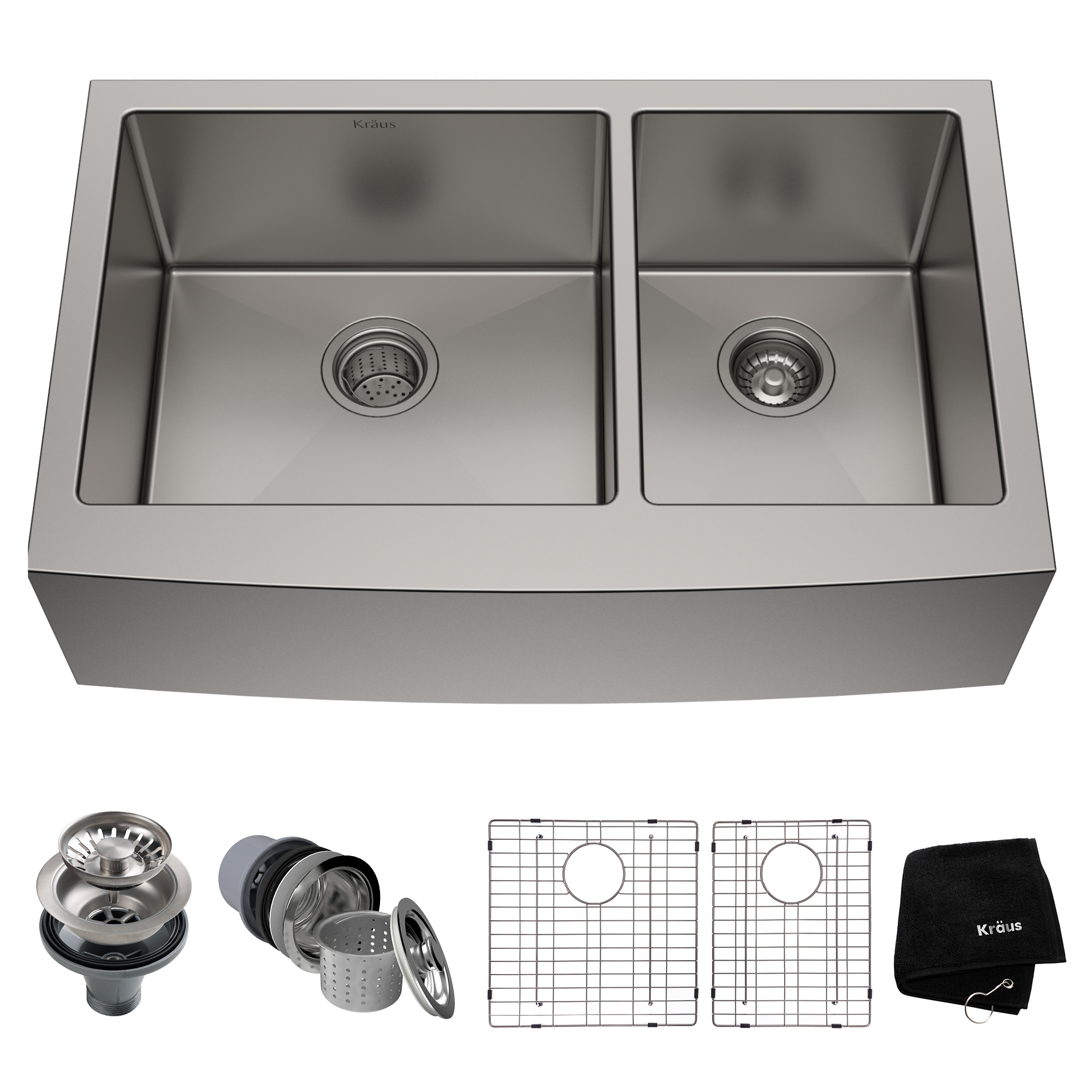 KRAUS Standart PRO™ 36-inch 16 Gauge 60/40 Double Bowl Stainless Steel Farmhouse Kitchen Sink