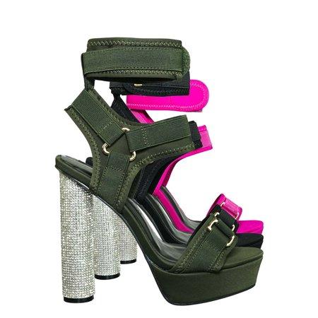 Julia18 by Wild Diva, Rhinestone Cylinder Block Heel Neoprene Sandal-Lycra Nylon Elastic (Nylon Sheer Heels)