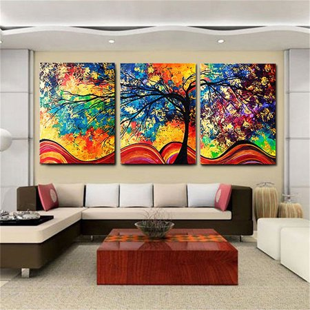Moaere 3Pcs Colorful Tree Wall Art Oil Painting Giclee Landscape Canvas Prints for Home Decorations Framed ()