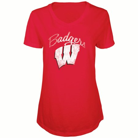 Women's Russell Red Wisconsin Badgers Distressed V-Neck Tunic