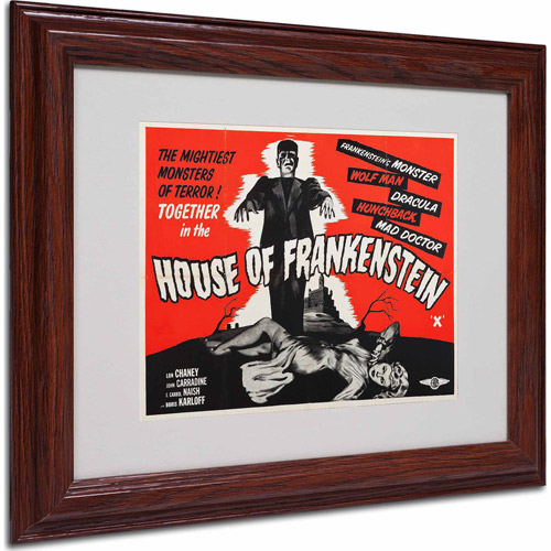 "Trademark Fine Art ""House of Frankenstein"" Matted Framed Art by Vintage Apple Collection, Wood Frame"