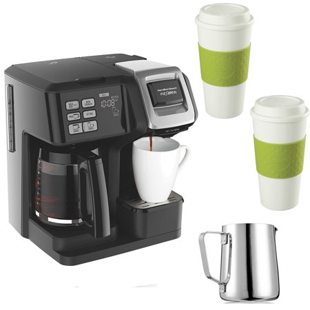 Hamilton Beach FlexBrew 2-Way Brewer Programmable Coffee Maker (49976) with 12 oz Milk Carafe & 2 Reusable To Go Cups (Green)