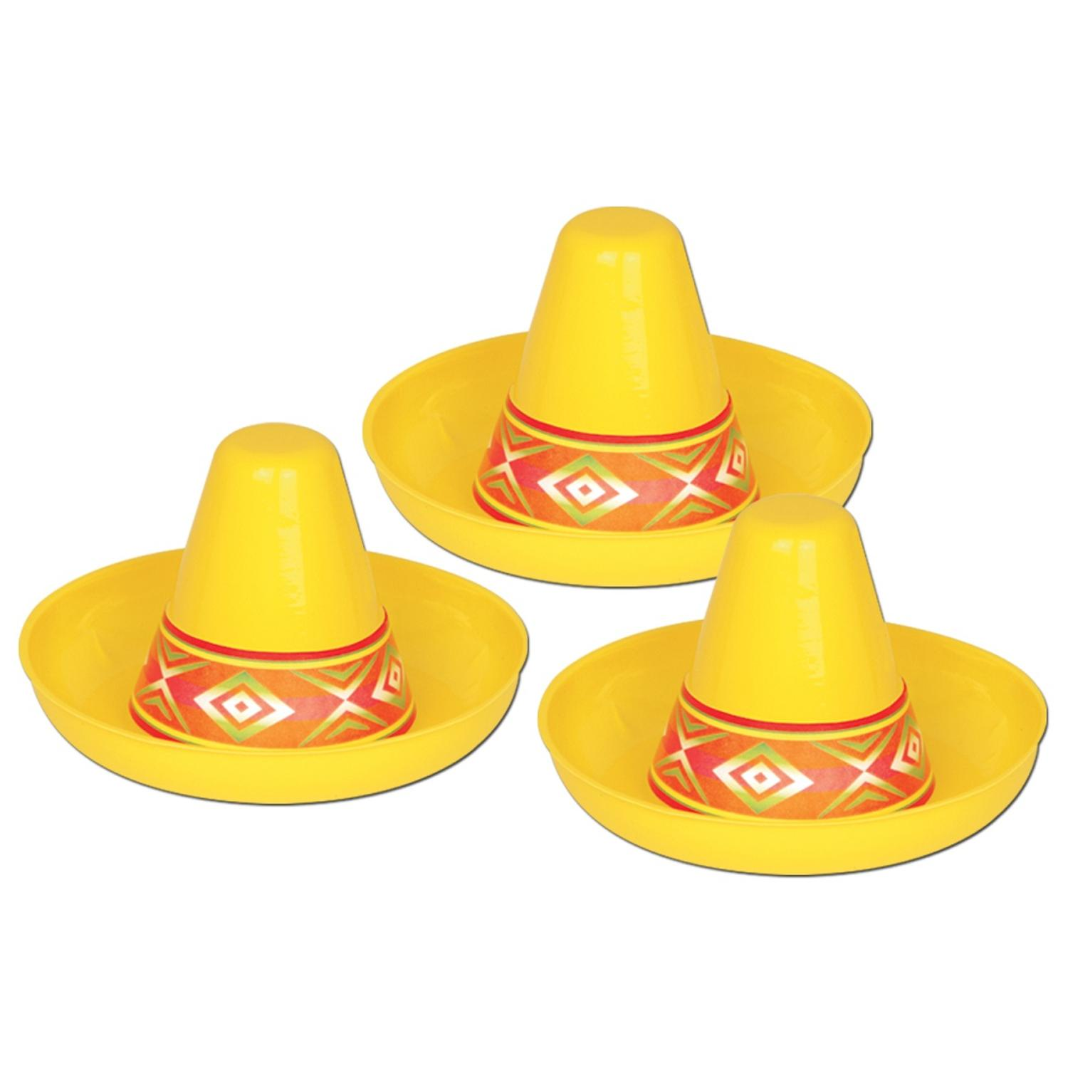 Club Pack of 48 Yellow Mexican Fiesta Miniature Plastic Sombrero Party Decorations 4.5""