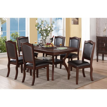 Imperial Classic Contemporary Dining Room Dining Table 6 Side Chairs Cushioned Seat Back Chair 7pcs Set Kitchen Room in Espresso Color ()