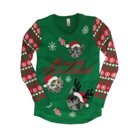 Holiday - Junior Womens Light Up Kitty Christmas Sweater Cat & Santa Hat Holiday Pullover - Size - Large(11-13) - Walmart.com
