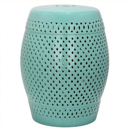 Safavieh Diamond Ceramic Garden Stool In Robbins Egg Blue