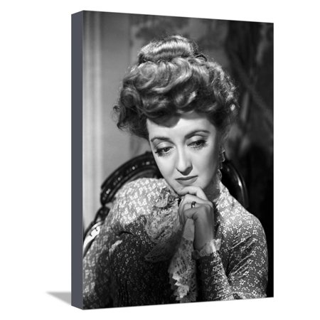 Bette Davis Portrait Hand on the Chin in Long Sleeve Silk Dress with Top Knot Hair Stretched Canvas Print Wall Art By Hurrell