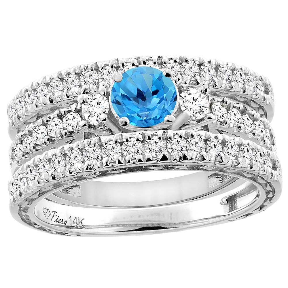14K White Gold Diamond Natural Swiss Blue Topaz Engagement 3-pc Ring Set Engraved Round 6 mm, size 5.5 by Gabriella Gold