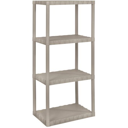 Keter Plastic 4-Tier Shelf, 14″ x 22″ Resin Shelving Unit, Sand