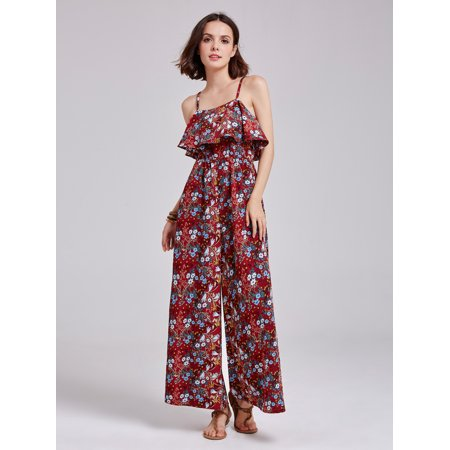 Alisa Pan Women's Retro 70s Spaghetti Straps Burgundy Casual Floral Printed Plus Long Pants Summer Boho Wide Jumpsuit Rompers for Women 07186 for $<!---->