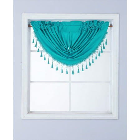 RS8 1-Piece TEAL Waterfall Blackout Rod Pocket Window Valance with Decorative Trim 48